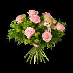Bukett med rosa rosor, pistage plus en supergullig liten nalle.