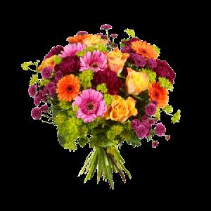 Bukett med blandade blommor i olika glada färger.