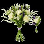 Familjebukett (en stor, en liten) med vita rosor och blå alstromeria.