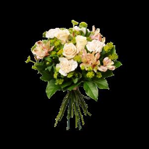 Stilig bukett med nejlikor, rosor, alstromeria och grönt