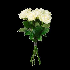 En högtidlig bukett med höga, vita rosor.