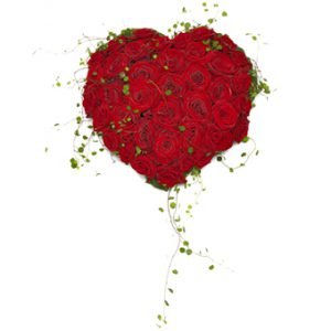 Sorgdekoration i form av ett hjärta. Dekorationen består av röda rosor och slideranka.