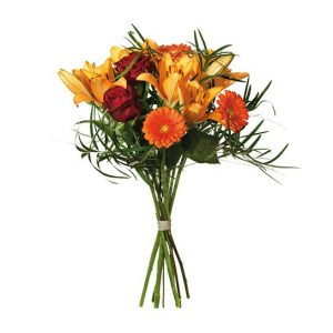 Oktoberbuketten från Interflora, med asiatisk lilja, rosor och germini.
