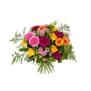Sorgbukett med färgglada blommor i blandade färger; nejlikor, germini, rosor, santini och gröna blad. Blommorna finns att köpa som blomsterbud hos Interflora.