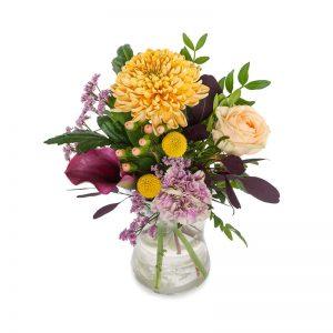 """Skicka blommor med bud från Euroflorist - beställ direkt på nätet. Här, buketten """"Konfetti"""", med blandade blommor i fina fäger (aprikos, gult, lila, grönt)."""