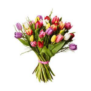 Lyxtulpaner, med tulpaner i mixade, glada färger. Blommorna ingår i Interfloras sortiment av tulpanbuketter.