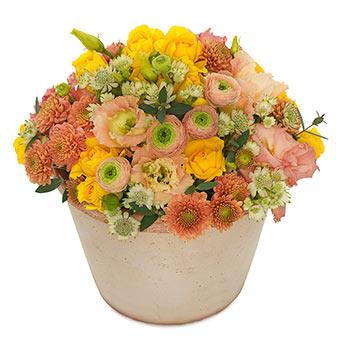 Plantering av blandade vårblommor (färger gult/orange/rost/lime). Blomsterdekorationen finns hos Euroflorist.