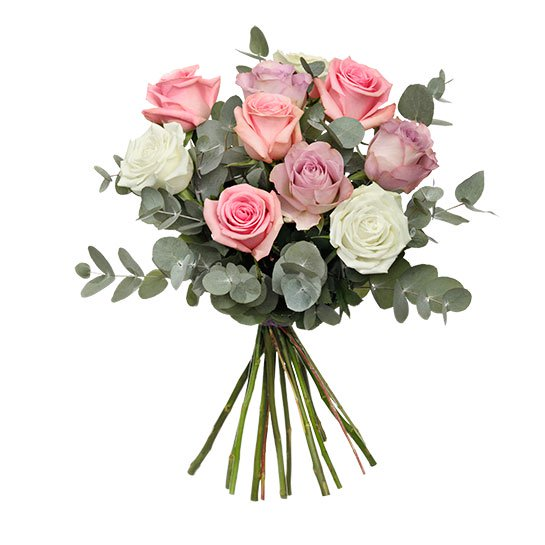Rosbukett med rosor i ljusa, milda pastellfärger. Skicka blommorna med ett Interflora-blombud och överraska dina nära och kära!