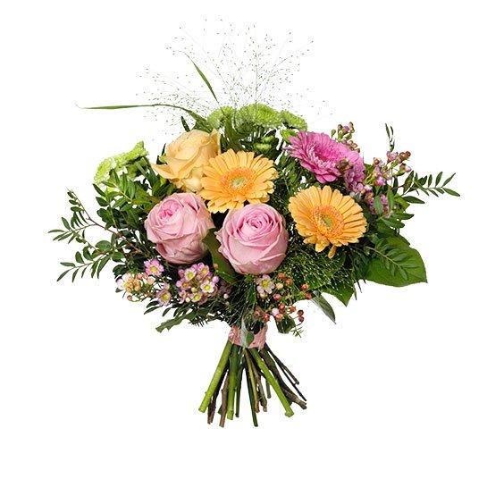 Bukett med rosor, gerbera, santini och vaxblomma. Blommorna går i rosa/gult/lime. Buketten finns att beställa hos Interflora, den äldsta blomsterförmedlingen i Sverige.