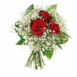 Bukett med två röda rosor, en röd nejlika och vit brudslöja. Finns att beställa hos Florister i Sverige.